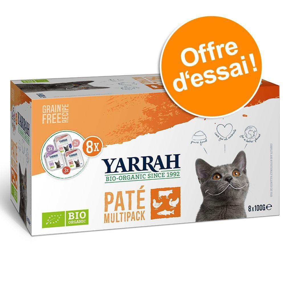Yarrah 8x100g Multipack Yarrah Bio Pâté lot mixte (3 variétés) - Pâtée pour chat