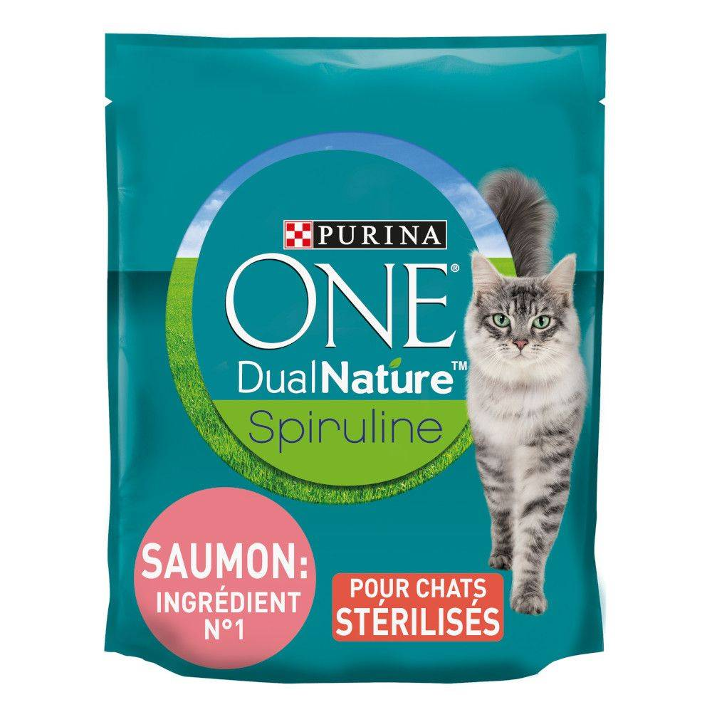 Purina One 4x1,4kg Dual Nature Chat Stérilisé saumon, spiruline Purina One - Croquettes pour chat