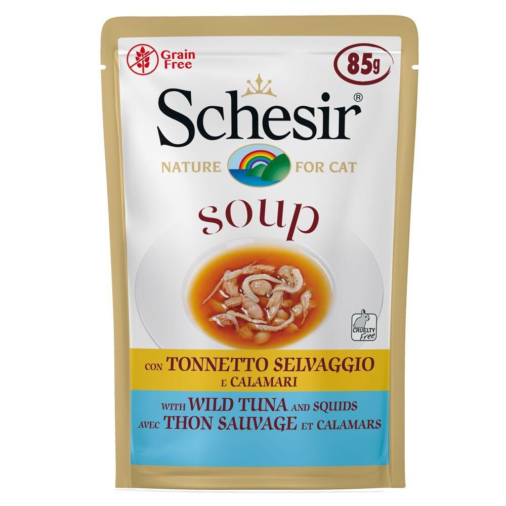 Schesir 6x85g Schesir Soup saumon rose sauvage, carottes - Sachet pour chat