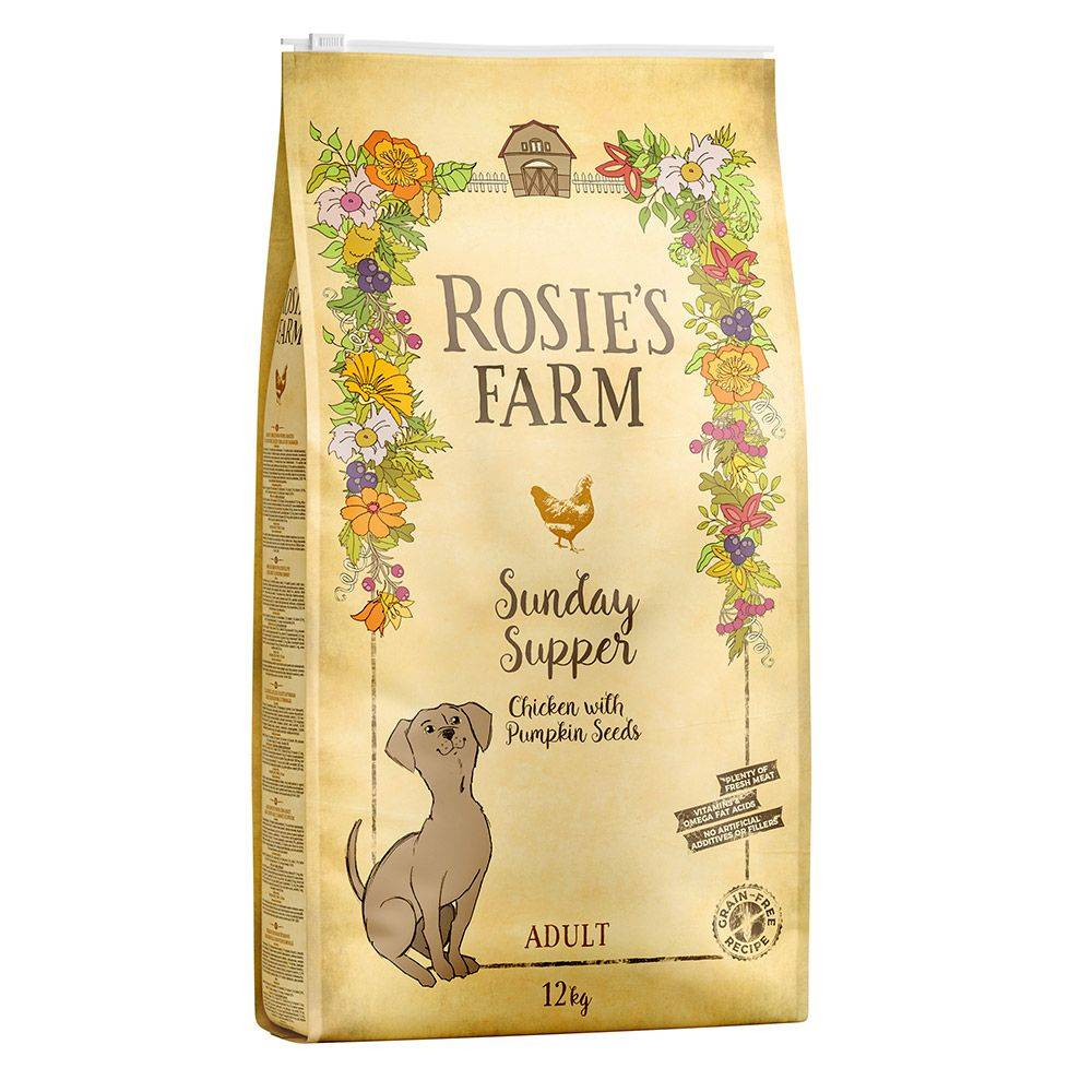 Rosie's Farm poulet, patates douces, graines de courge pour chien - 12 kg