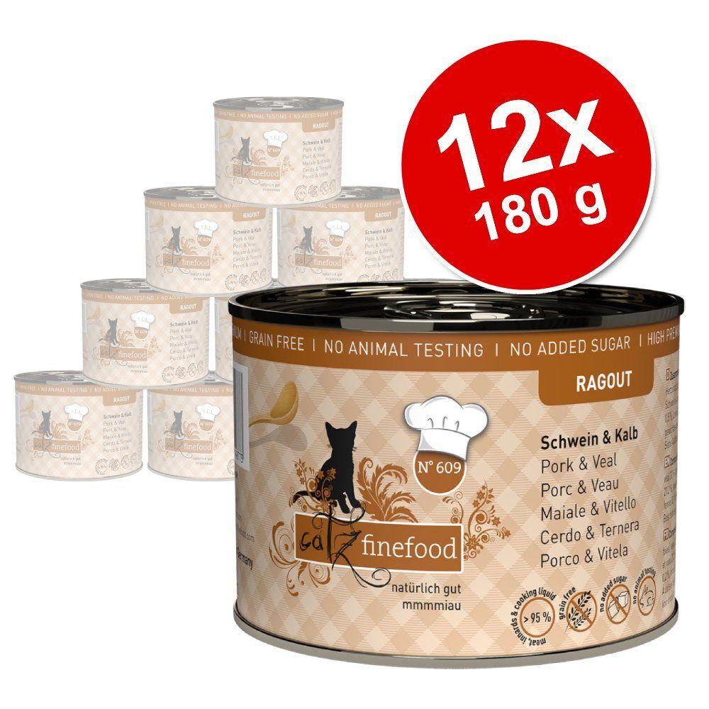 catz finefood Ragoût 12 x 180 /190 g pour chat - No. 605 saumon, canard sauvage (12 x 190 g)