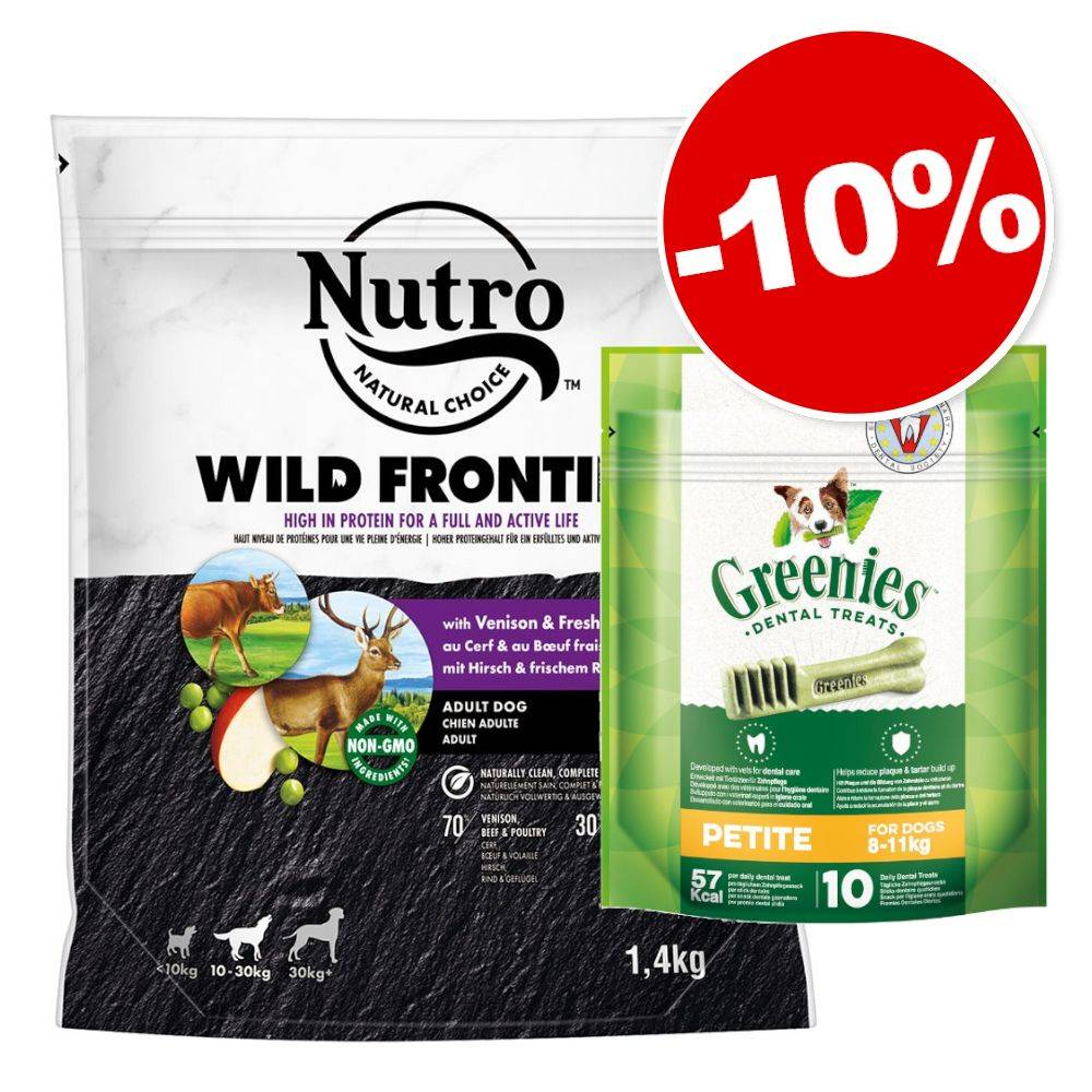 Nutro 1.4kg Adult 10-30 kg agneau, riz + 10 friandises Soin dentaire Petite (170g) Greenies pour chien