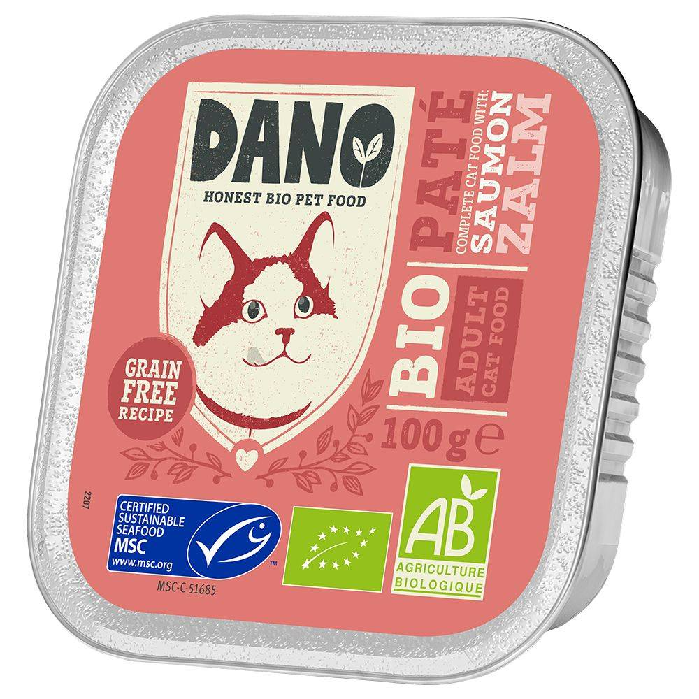 Dano 12x100g DANO Pâté BIO saumon - Pâtée pour chat