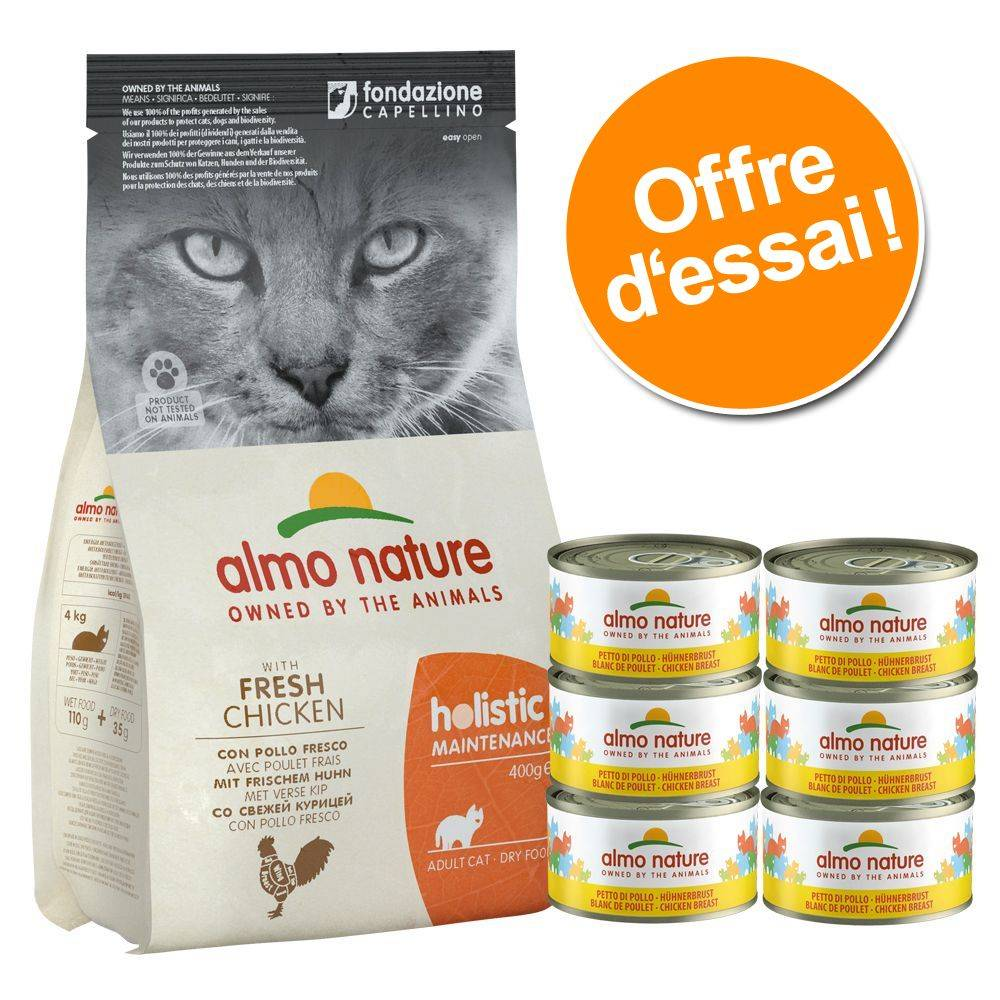 Almo Nature Holistic Pack gourmand Almo Nature - 2 kg Holistic poulet, riz + 6 x 70 g poulet, fromage