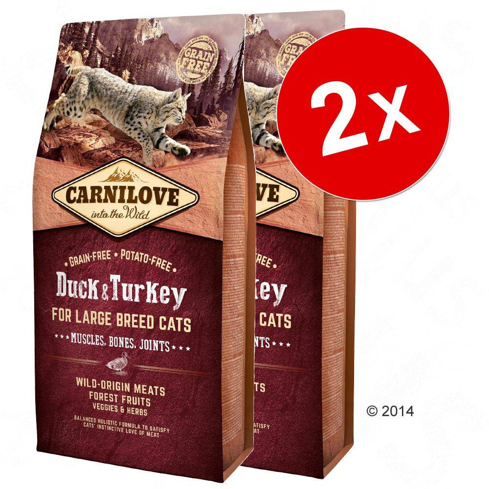 Carnilove 2x6kg Large Breed Cats Muscles, Bones, Joints Carnilove canard, dinde Croquettes pour chat