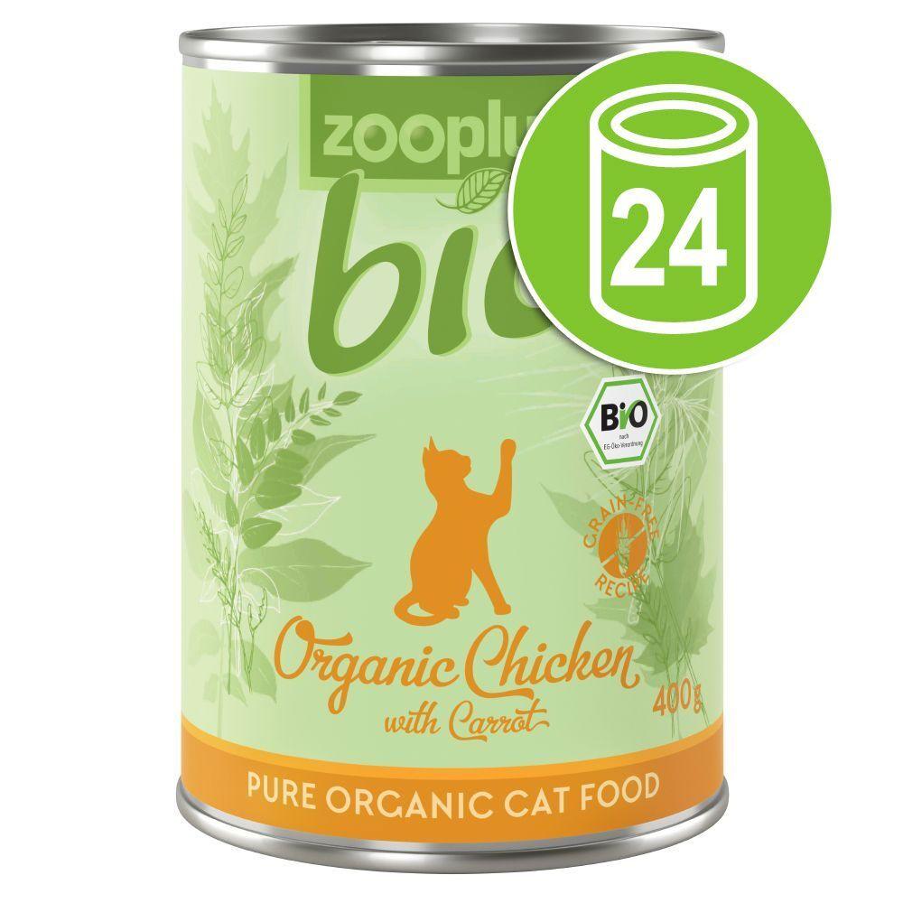zooplus Bio 24x400g zooplus Bio poulet, carotte - Pâtée pour chat