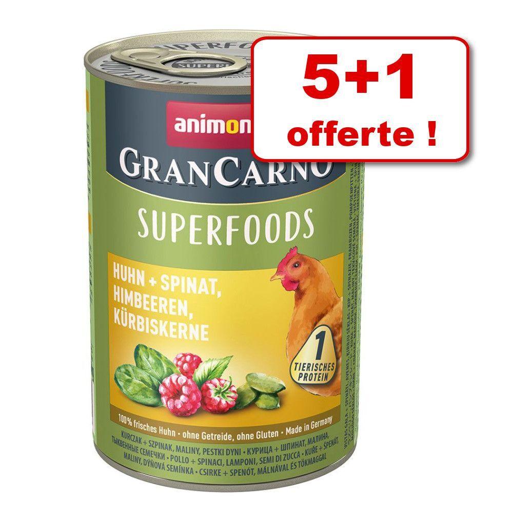 Animonda GranCarno Adult Superfoods 5 x 400 g + 1 boîte offerte ! - dinde, blettes, cynorrhodon, huile de lin