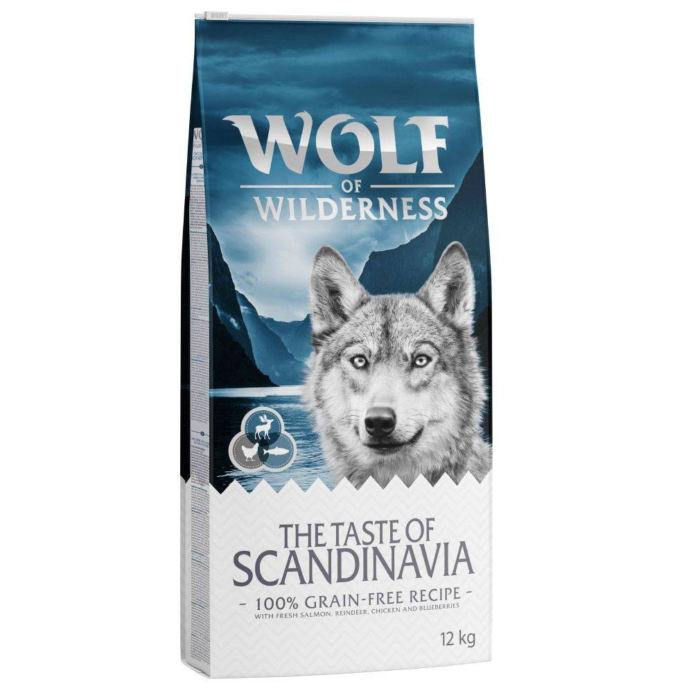 Wolf of Wilderness 2x12kg Saumon, renne, poulet Sans céréales Croquettes chien pour chien Wolf of Wilderness
