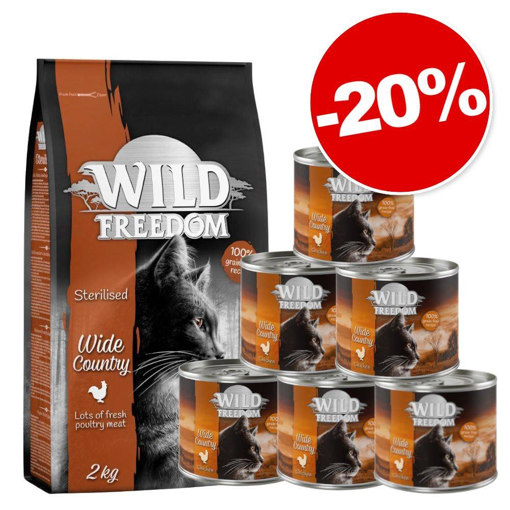 Wild Freedom 2kg Adult Cold River, saumon + Cold River - colin, poulet + 6x200g Cold River - colin, poulet Wild Freedom pour chat