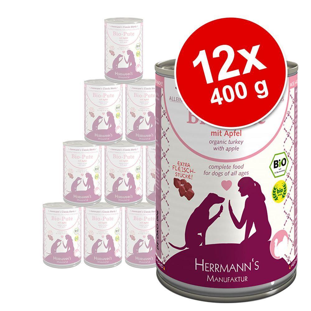 Herrmanns 12x400g Classic oie bio, sarrasin, fruits, lait de coco Herrmann's - Nourriture pour chien