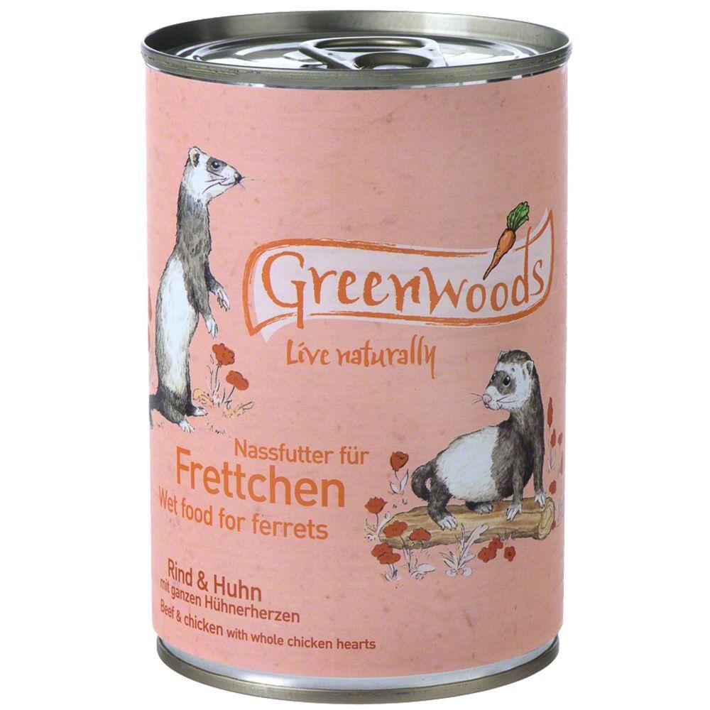 Greenwoods Small Animals 6x400g bœuf, poulet furet Greenwoods - Nourriture Furet