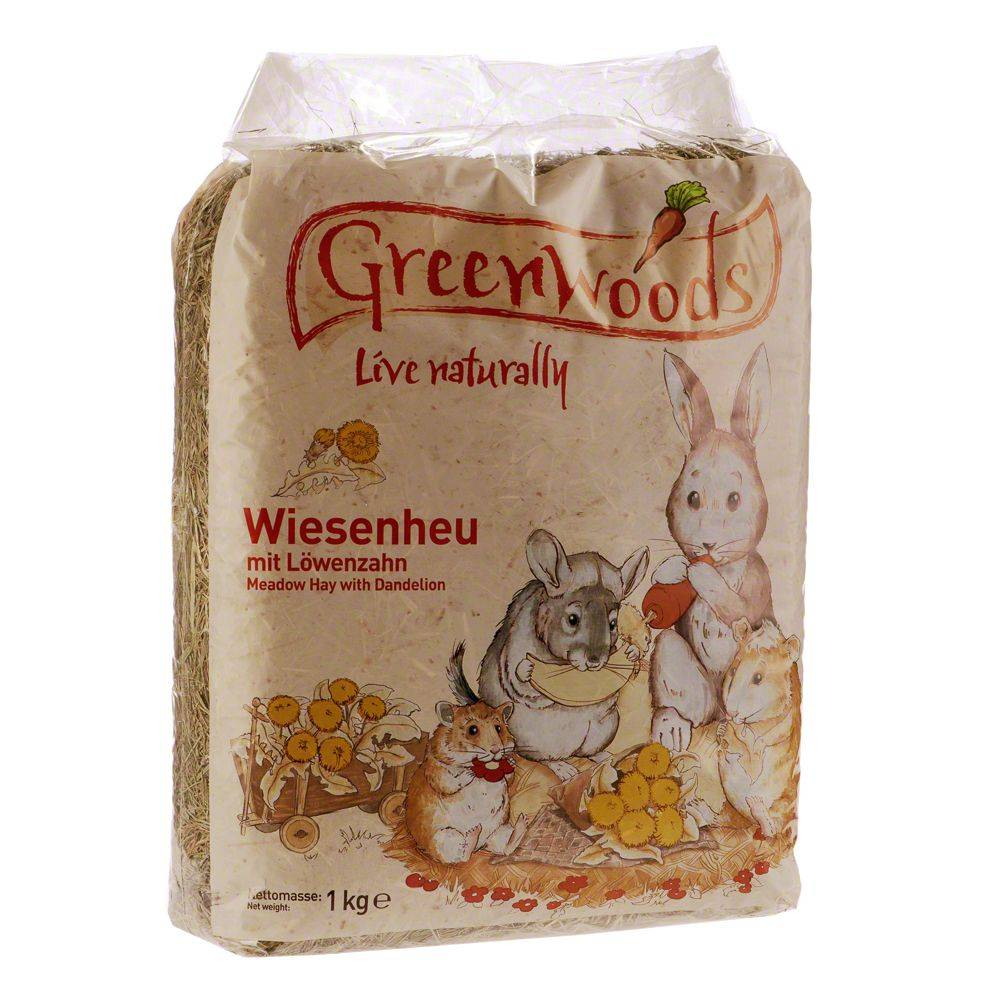 Greenwoods Small Animals 1kg Greenwoods Foin de prairie pour rongeur et lapin carottes