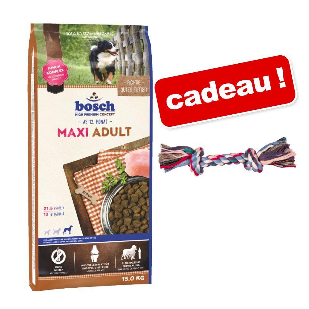 Bosch High Premium concept 15kg Adult canard, riz bosch croquettes pour chien + L26cm Corde à nœuds multicolore Trixie offerte