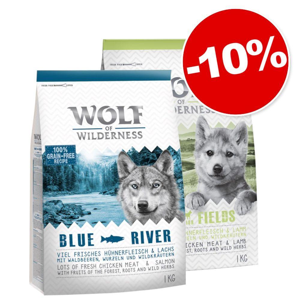 Wolf of Wilderness Pack transition : Little Wolf of Wilderness Green Fields + Adult, 10 % de remise ! - Junior Green Fields, agneau 5 kg + Adult Blue River, saumon 5 kg