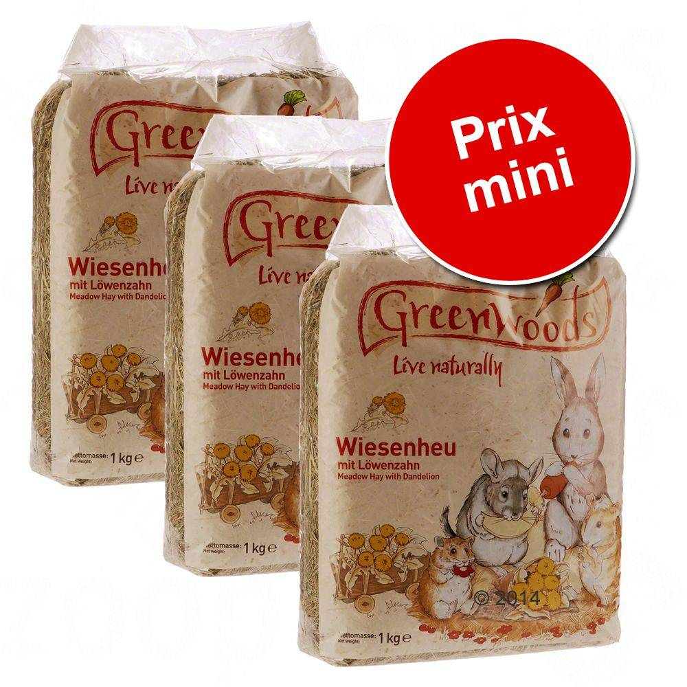 Greenwoods Small Animals 3kg Greenwoods Foin de prairie pour rongeur et lapin, carotte