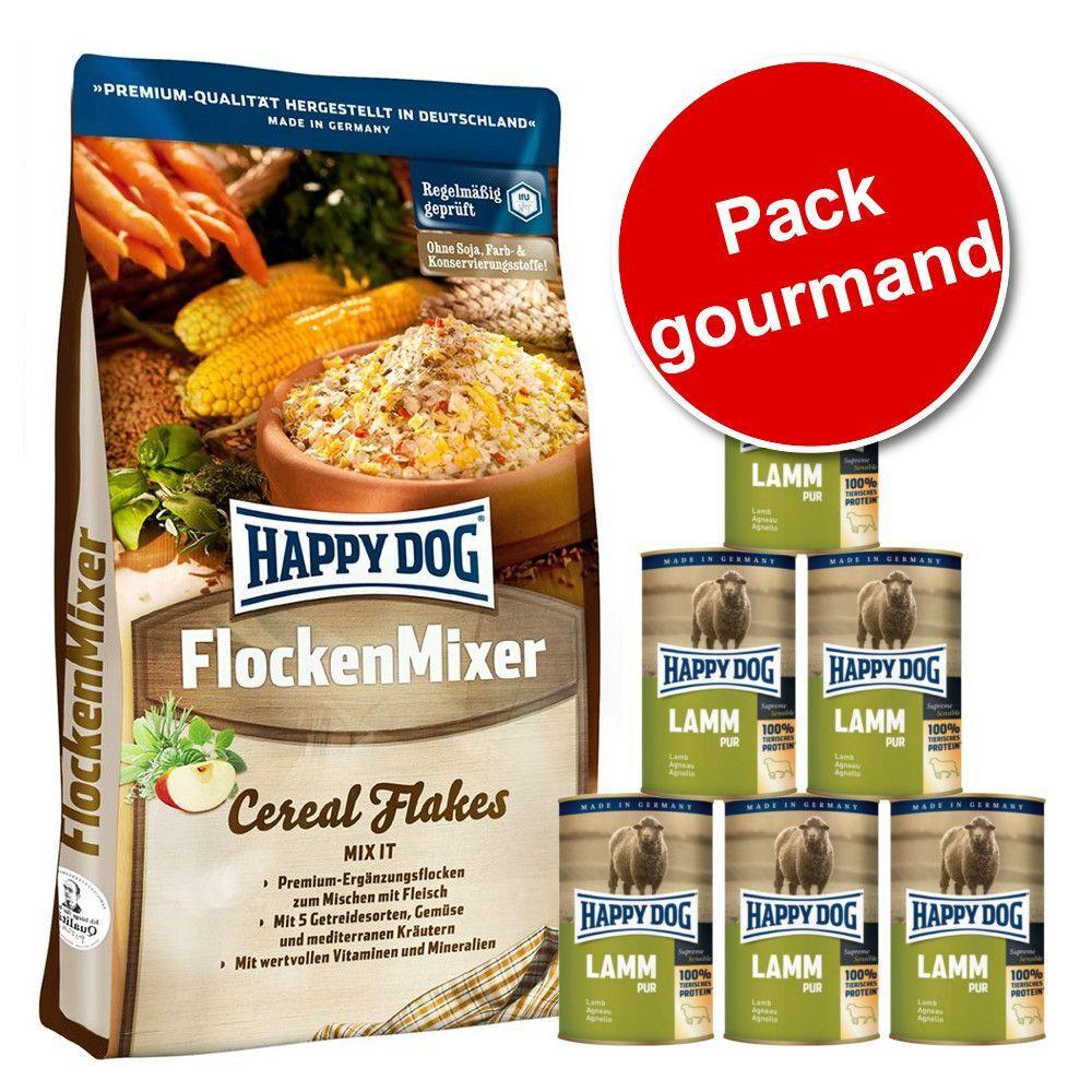 Happy Dog Pack gourmand 10 kg Happy Dog FlockenMixer + 6 boîtes de 400 g Happy Dog Pur - pur gibier
