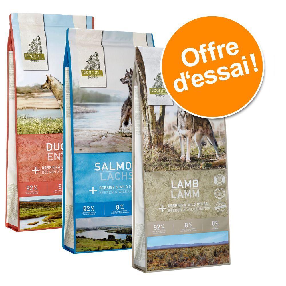 Isegrim 3x3kg Isegrim Adult lot mixte, 3 variétés : agneau, canard, saumon - Croquettes pour chien