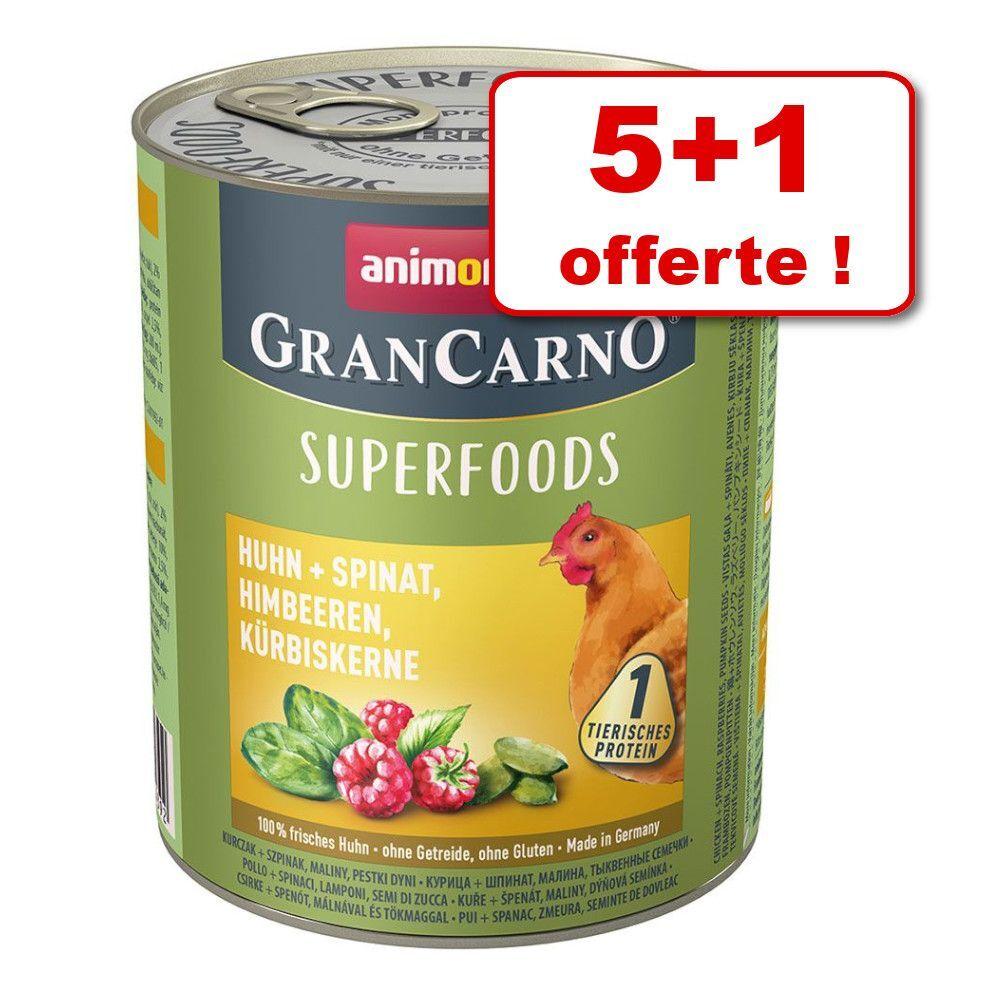 Animonda GranCarno Boîtes Animonda GranCarno Adult Superfoods 5 x 800 g + 1 boîte offerte ! - dinde, blettes, cynorrhodon, huile de lin