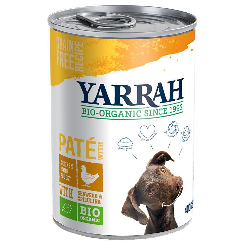 Yarrah 12x400g Paté poulet, algues, spiruline Yarrah Bio pour chien