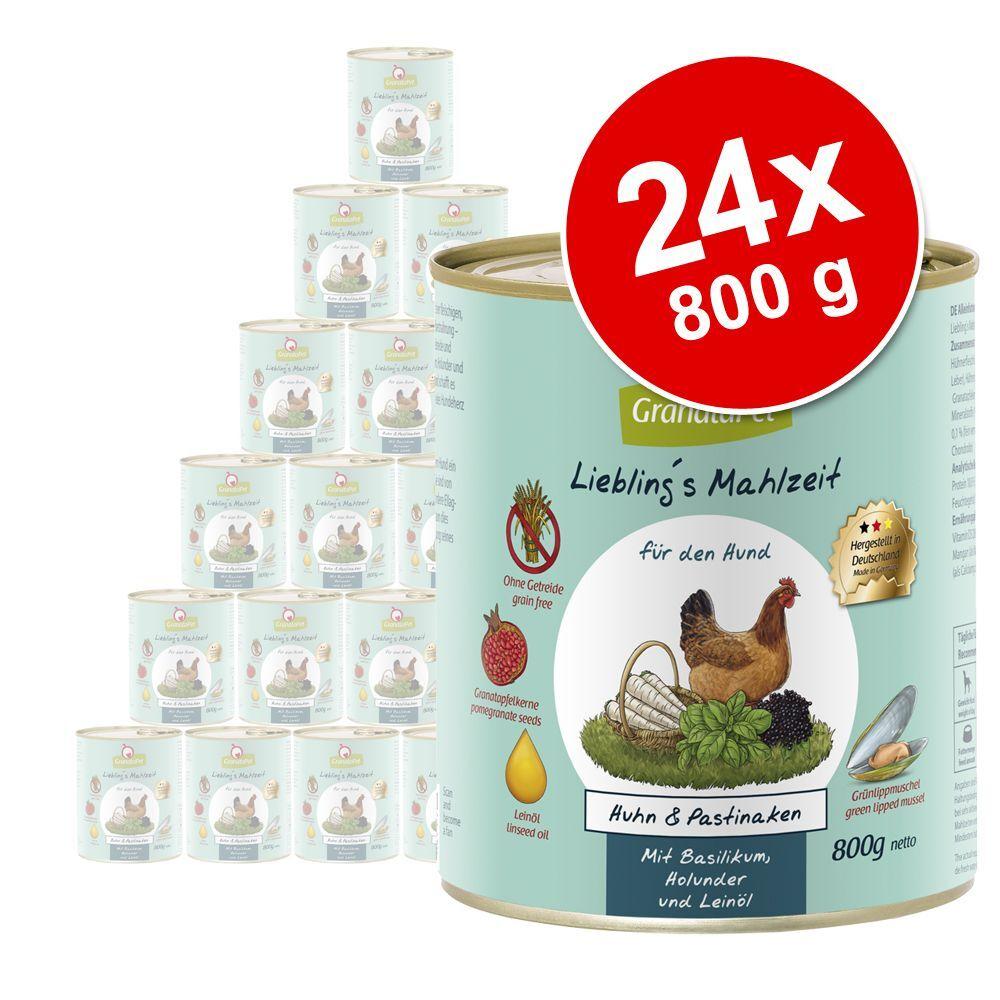 Granatapet Lot GranataPet Liebling's Mahlzeit 24 x 800 g pour chien - agneau, pommes de terre, fenouil, fromage cottage, huile d'olive