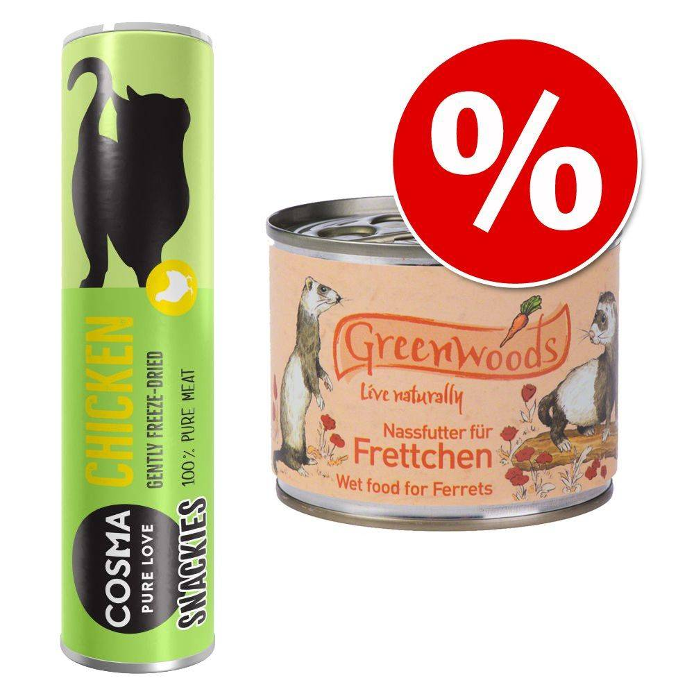 Greenwoods Small Animals Lot pour furet : boîtes Greenwoods + friandises Cosma Snackies - 6 x 200 g + canard 21 g