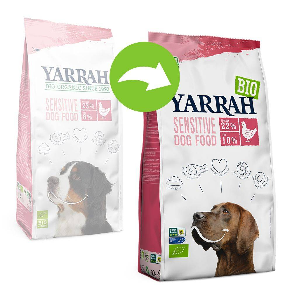 Yarrah Bio Sensitive, poulet & riz bio pour chien - 2 x 10 kg