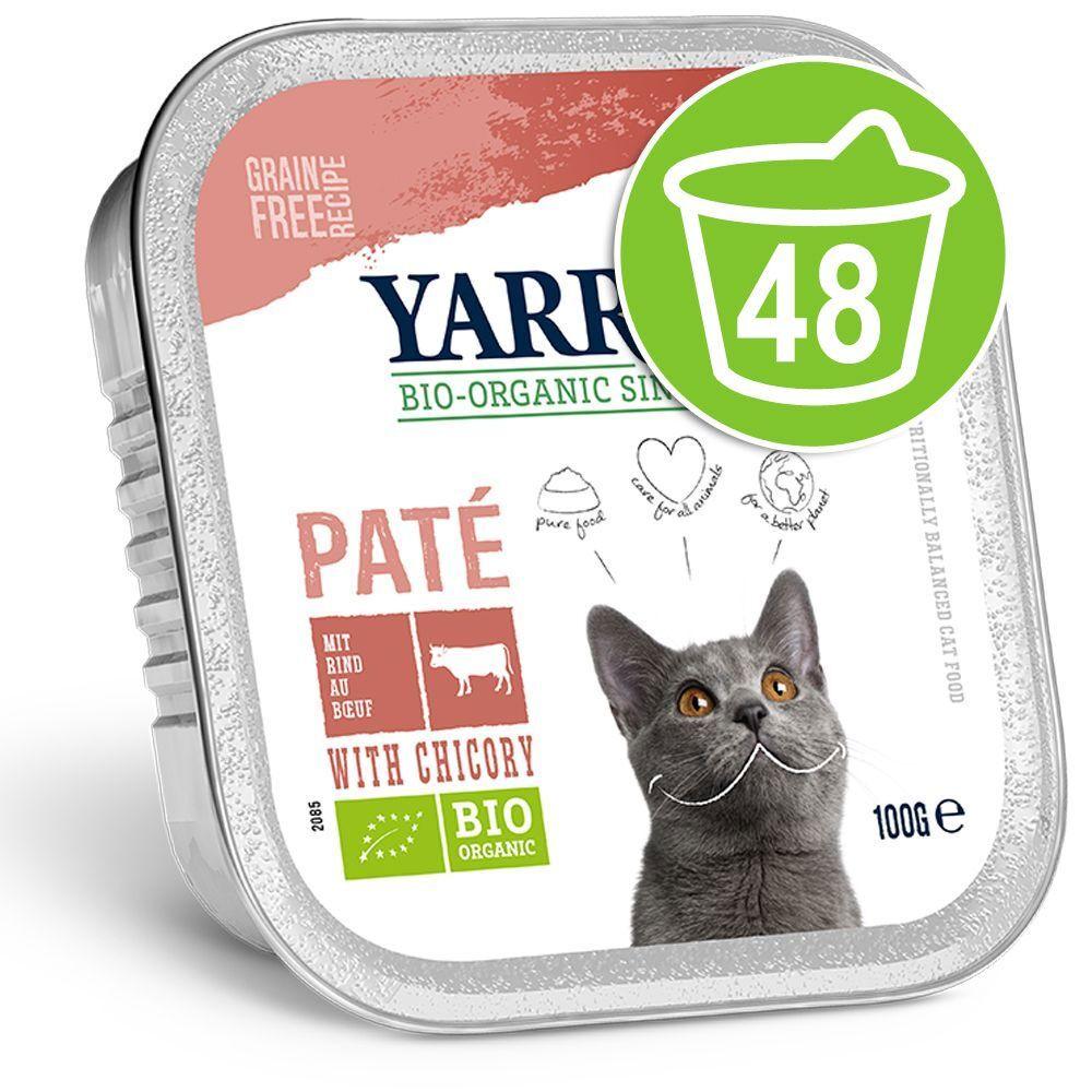 Yarrah 48x100g Yarah Bio Adult Boeuf/chicorée Pâté pour chat - Offre Promo