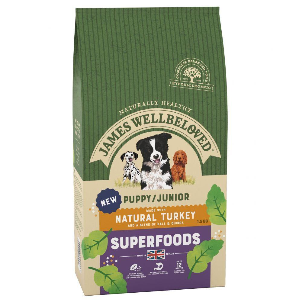 James Wellbeloved Puppy/Junior Superfoods dinde, chou kale, quinoa pour chien - 3 x 1,5 kg
