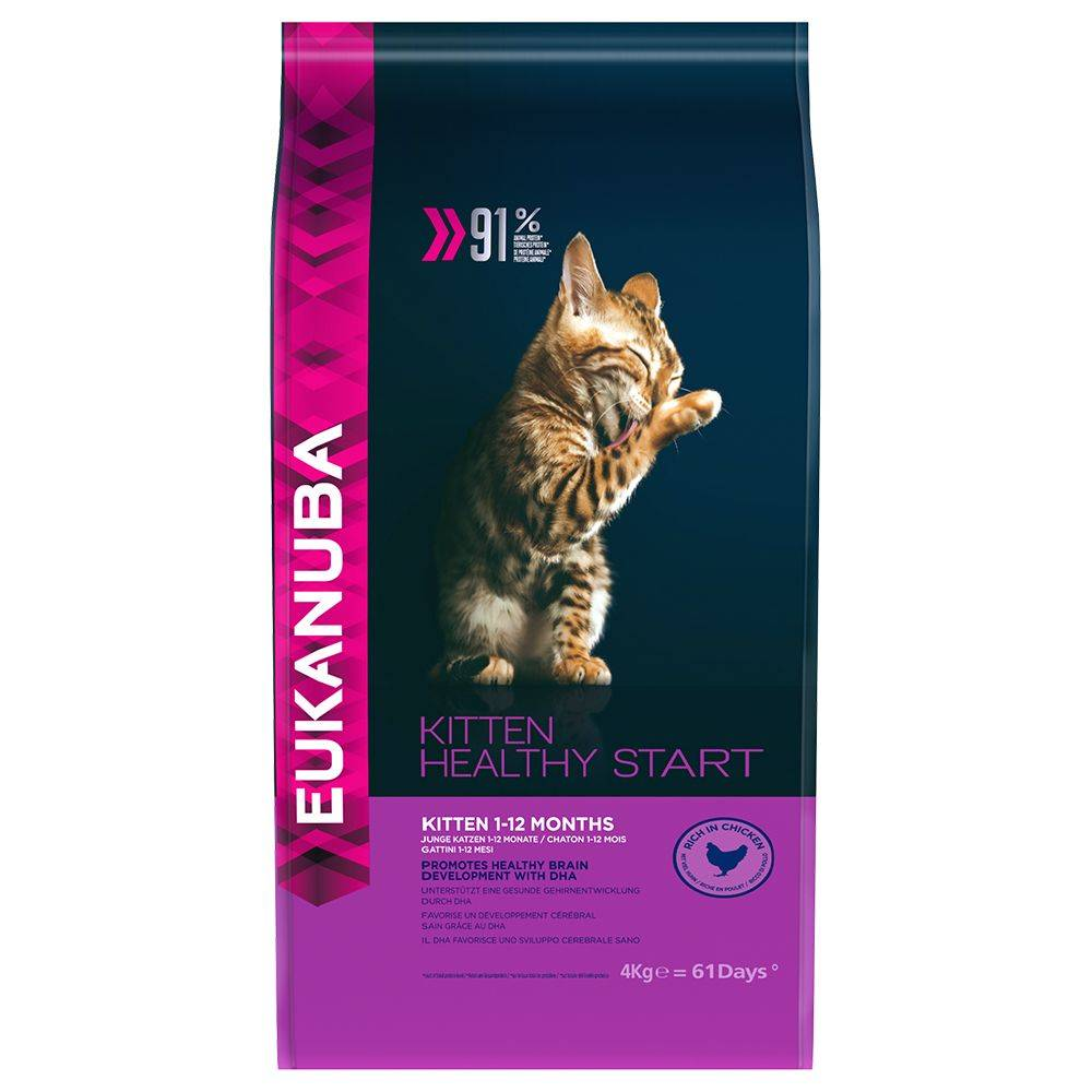 Eukanuba 2x4kg Chaton Poulet Eukanuba - Kitten Healthy Start Croquettes pour chaton