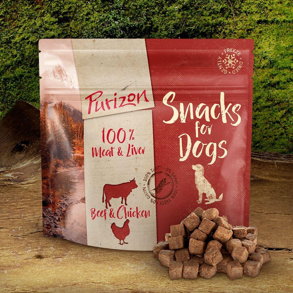Purizon 100g Et pour les petites faims friandises Purizon bœuf, poulet sans céréales - Croquettes pour chien