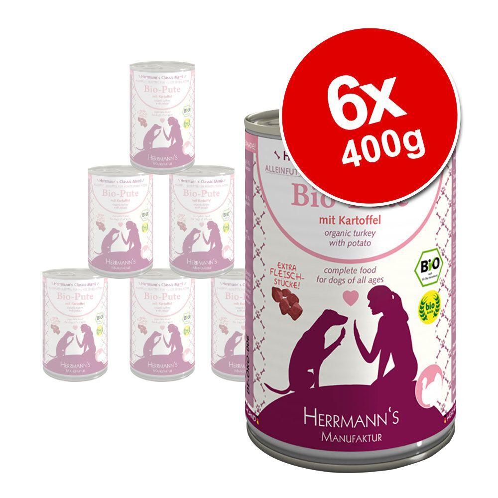 Herrmanns 6x400g canard bio, patates douces, potiron, huile d'onagre Herrmann's - Nourriture pour chien