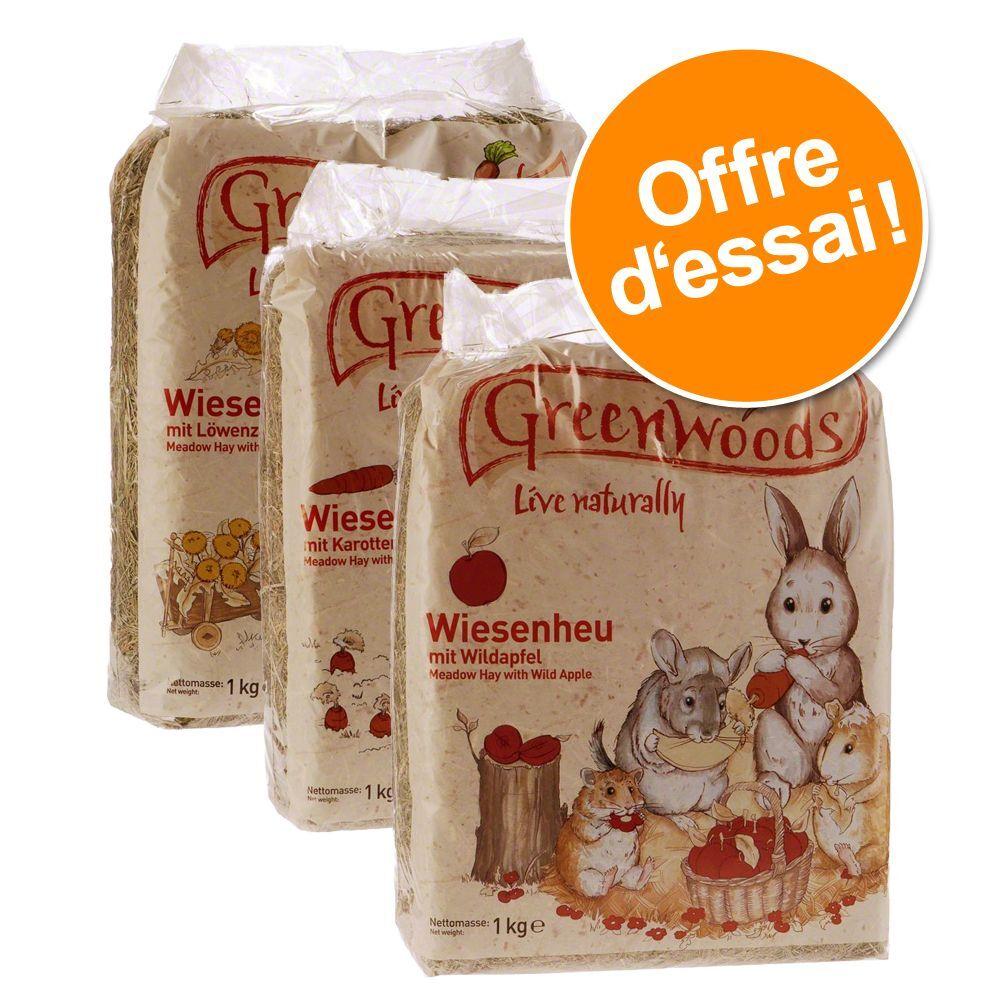 Greenwoods Small Animals Lot 3 foins de prairie 3 sortes Greenwoods - Foin pour rongeur et lapin