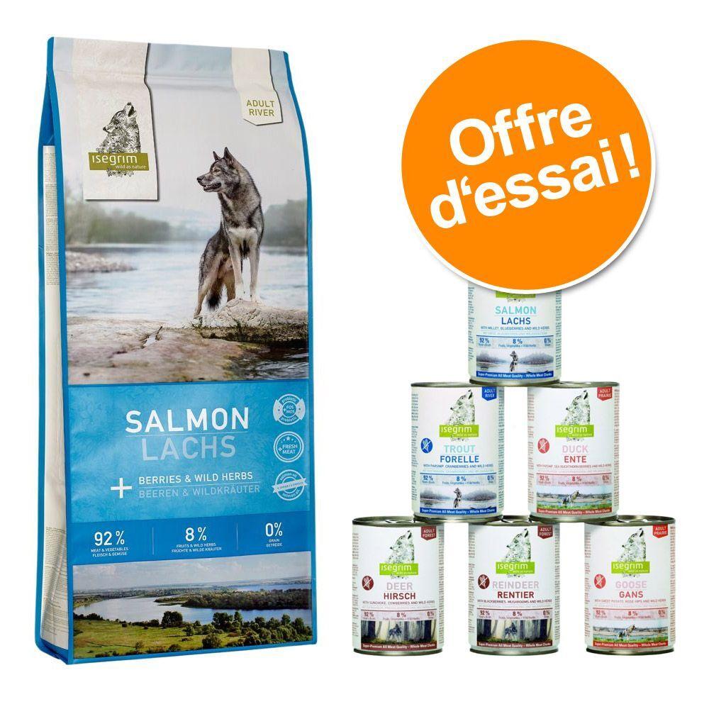 Isegrim Lot Isegrim Adult : 12 kg de croquettes + 6 x 400 g de nourriture humide pour chien - Adult River saumon 12 kg + lot mixte 6 x 400 g
