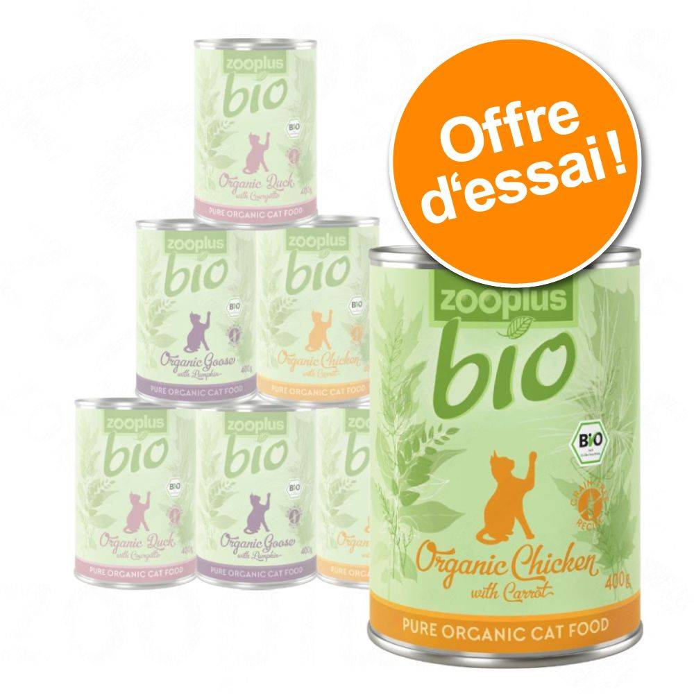 zooplus Bio Lot mixte zooplus Bio 6 x 400 g pour chat lot mixte (5 variétés)