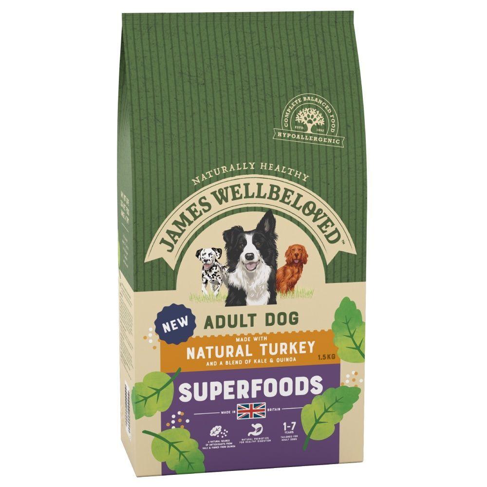James Wellbeloved Adult Superfoods dinde, chou kale, quinoa pour chien - 1,5 kg