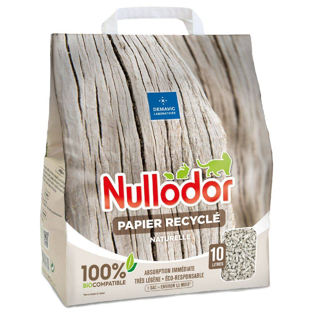 Nullodor 2x10L Litière Nullodor Papier Recyclé - pour chat