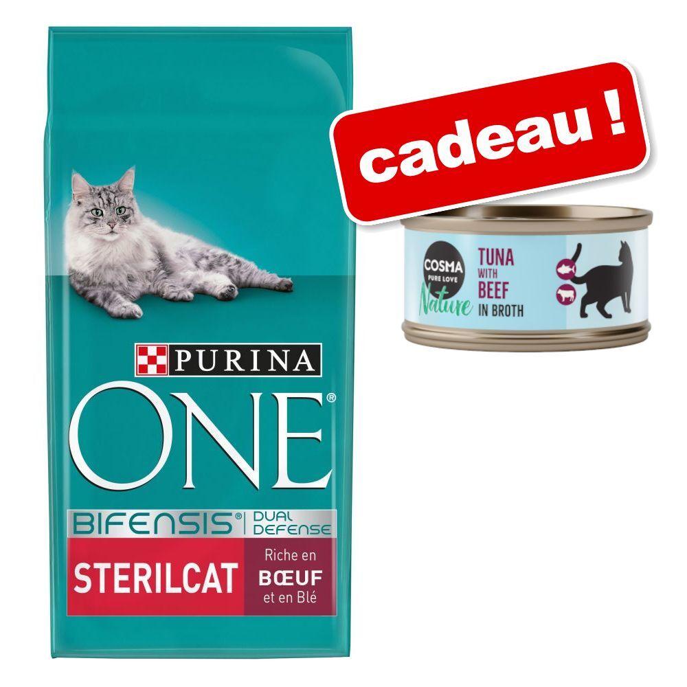 Purina One 9,75kg Chat d'Intérieur dinde, céréales complètes ONE PURINA + 6x70g thon, bœuf Nature Cosma boîtes en cadeau !