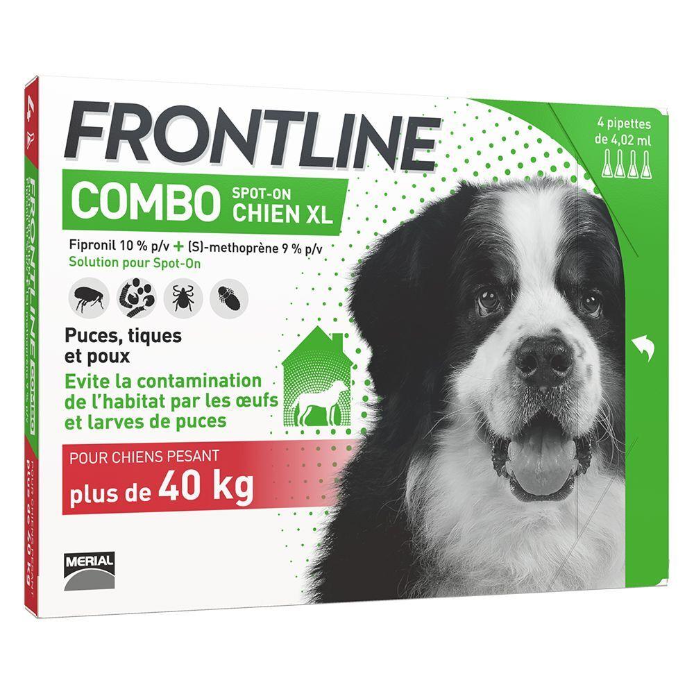 Frontline 4 pipettes XL FRONTLINE Combo Chien 40-60 kg - Antiparasitaire pour chien