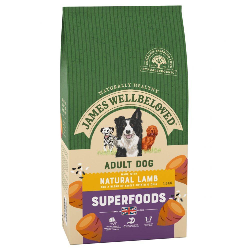 James Wellbeloved Adult Superfoods agneau, patates douces, chia pour chien - 2 x 10 kg