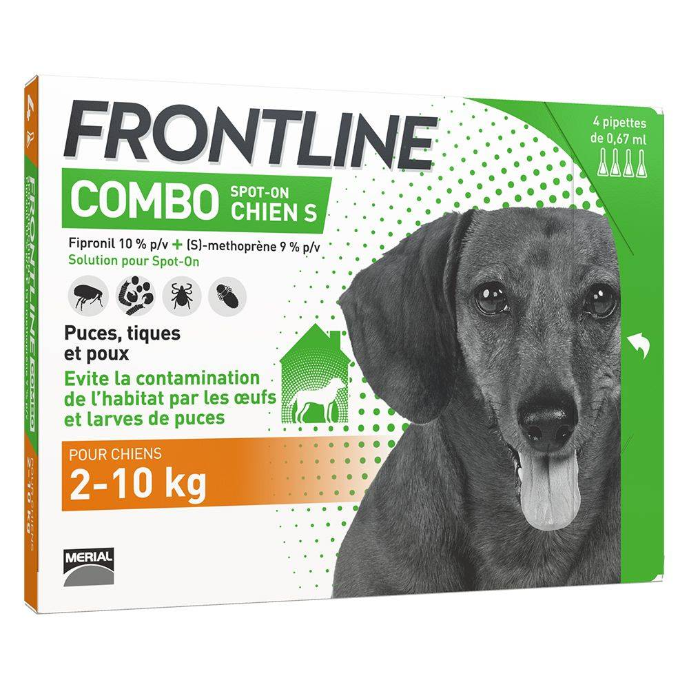 Frontline 4 pipettes S FRONTLINE Combo Chien 2-10kg - Antiparasitaire pour chien