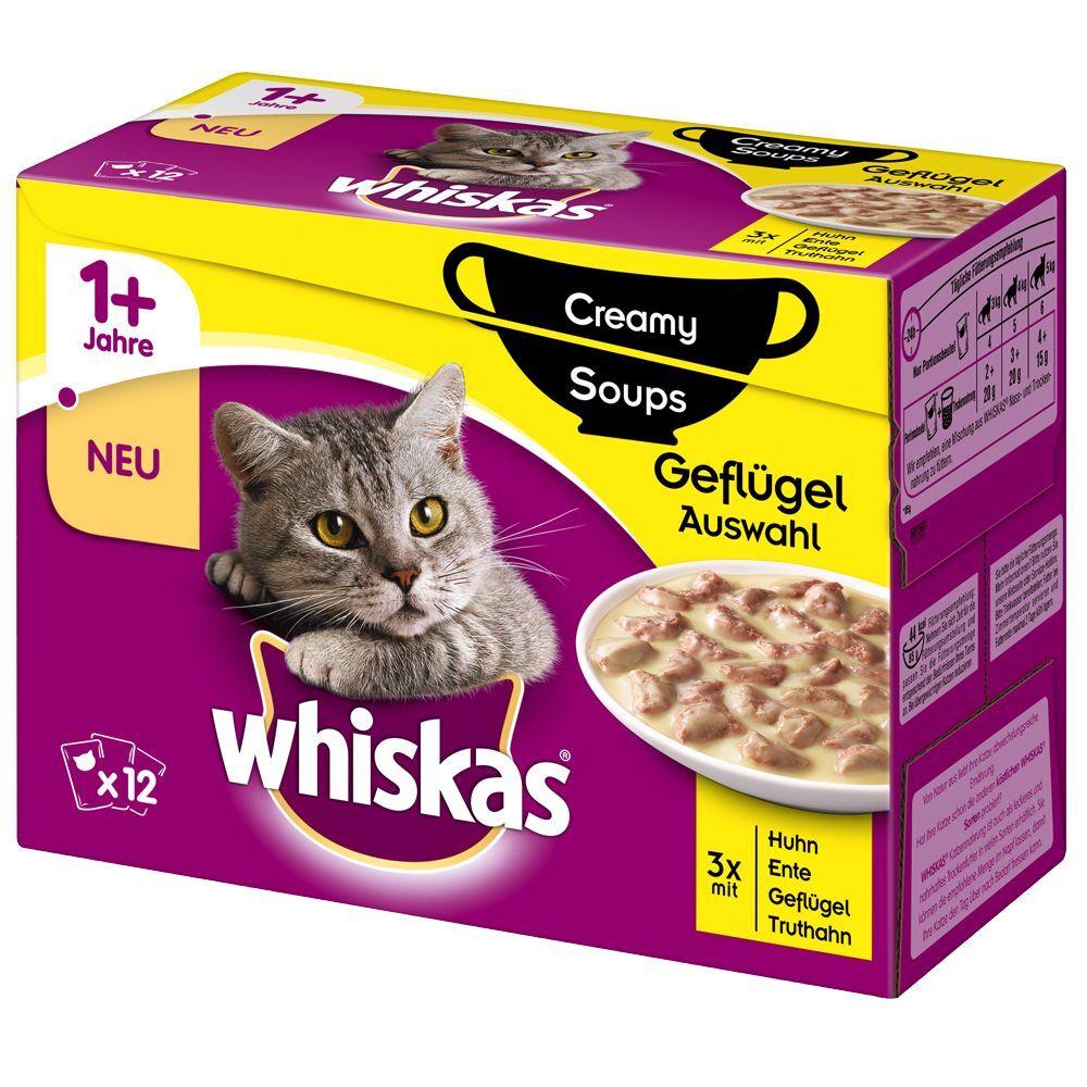 Whiskas 48x85g Whiskas Creamy Soup Sélection de volailles (poulet, canard, volaille, dinde)