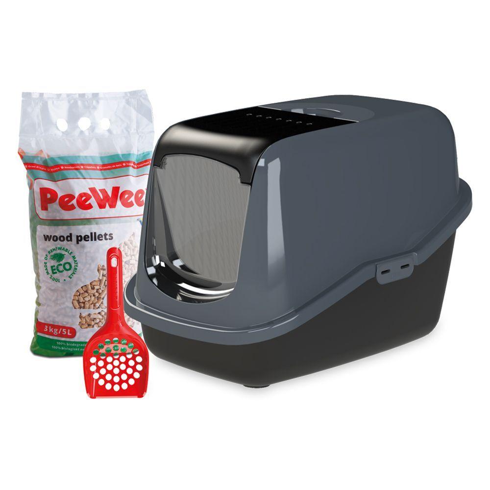 PeeWee EcoHus Maison de toilette pour chat noir/anthracite - Maison de toilette pour chat