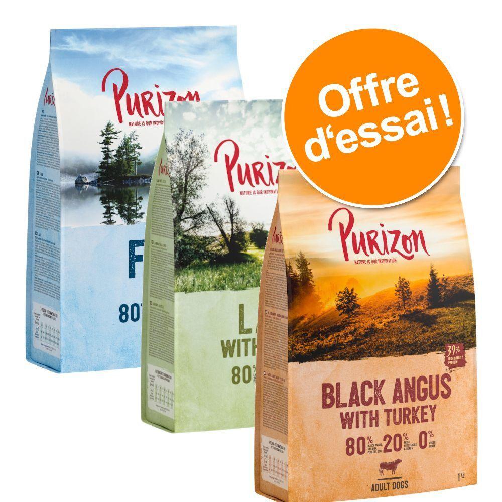 Purizon 3x1kg Purizon Adult sans céréales bœuf Black Angus & dinde, agneau & saumon, poisson