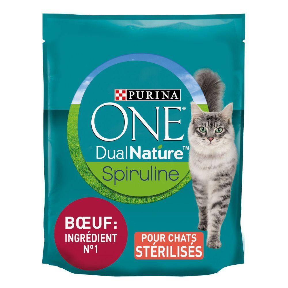 Purina One 4x1,4kg PURINA ONE Dual Nature Chat Stérilisé bœuf, spiruline - Croquettes pour chat
