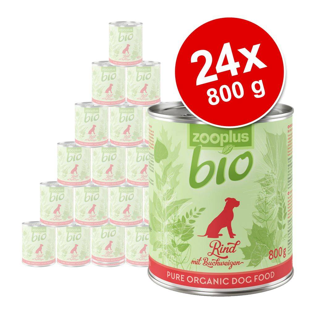 zooplus Bio 24x800g zooplus bio lot mixte poulet, boeuf, dinde, canard - Pâtée pour chien