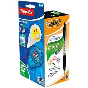 BIC Stylo bille rétractable + correcteur Tipp-Ex Easy Refill BIC Atlantis Classic 0.32 mm Noir - 12 Unités - Publicité