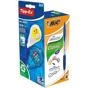 BIC Stylo bille rétractable + correcteur Tipp-Ex Easy Refill BIC Atlantis Classic 0.32 mm Bleu - 12 Unités - Publicité