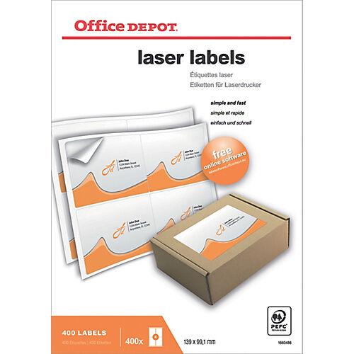 Office Depot Étiquettes Office Depot Laser Special format Blanc 139 x 99 1 mm 100 Feuilles de 4 Étiquettes