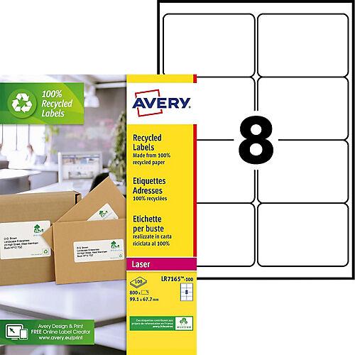 AVERY Zweckform Étiquettes adresses laser recyclées AVERY Zweckform Étiquettes laser recyclées A4 Blanc 99 1 x 67 7 mm 100 Feuilles de 8 Étiquettes