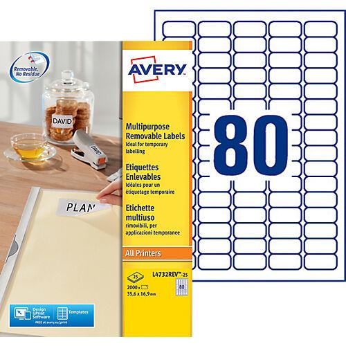 AVERY Zweckform Étiquettes enlevables AVERY Zweckform L4732Rev-25 A4 Blanc 35 6 x 16 9 mm 30 Feuilles de 80 Étiquettes